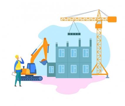 扁平插画风格正在建造高楼的建筑工人图片免抠素材