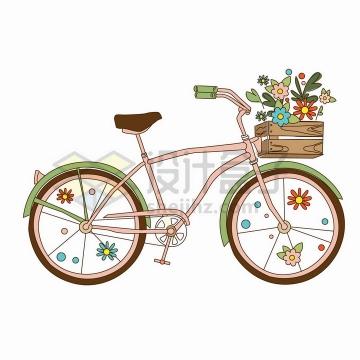 手绘自行车和车篮中的花朵鲜花png图片免抠矢量素材