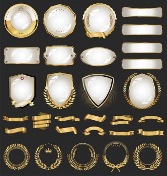 逼真的玻璃和金属光泽效果的徽章勋章装饰图片免抠矢量素材