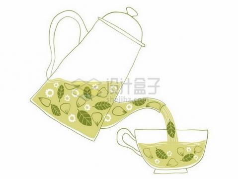 手绘风格茶壶正在朝茶杯中倒茶png图片免抠矢量素材