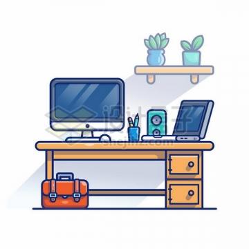 MBE风格办公桌上的电脑和公文包png图片免抠矢量素材