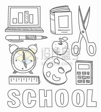 线条素描笔记本电脑圆珠笔书本剪刀闹钟计算器等学习用品简笔画png图片免抠矢量素材