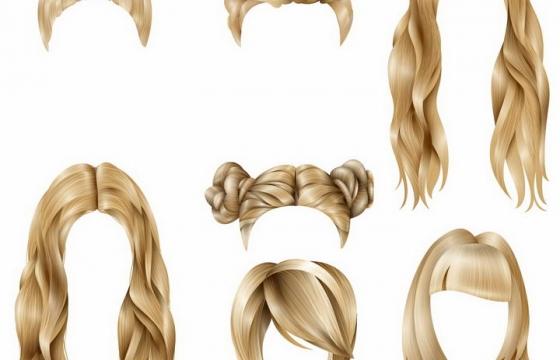 各种金色丸子头卷发发型png图片免抠矢量素材