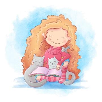 彩绘漫画风格抱猫咪一起看书的卡通金发小女孩图片免抠矢量素材