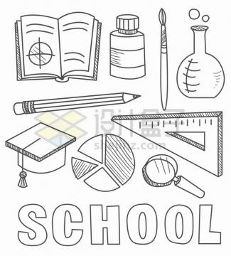 线条素描书本铅笔博士帽三角尺放大镜等学习用品简笔画png图片免抠矢量素材