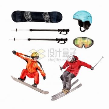 滑雪板护目镜等冬天体育运动水彩插画png图片素材