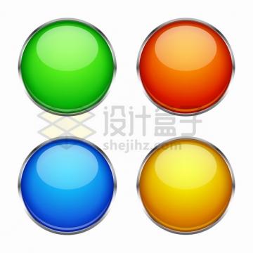 银灰色金属边框绿色红色蓝色黄色圆形水晶玻璃按钮png图片素材