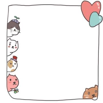 手绘卡通小动物涂鸦风格边框图片免抠素材