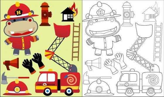 线条涂色对比人物简笔画消防员图片免抠素材