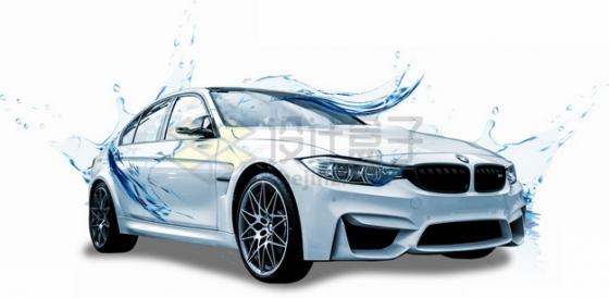 被半透明水膜保卫的宝马汽车洗车广告png图片素材