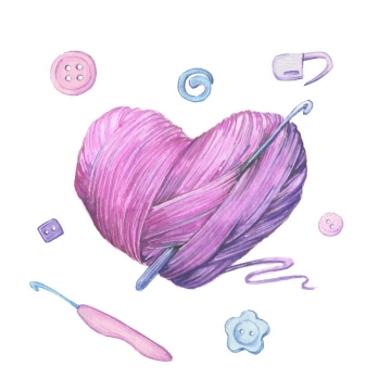 彩绘风格心形毛线球纽扣等图片免抠矢量素材