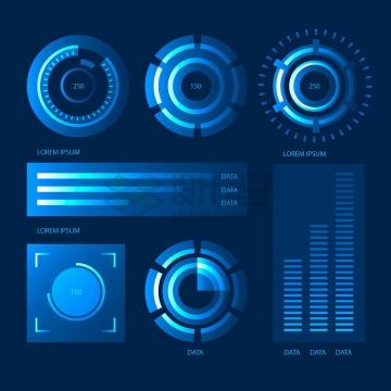 炫酷的蓝色雷达图环形图条形图等PPT数据图表png图片免抠矢量素材