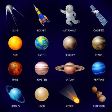 16款太阳金星地球木星彗星太阳系星球天文宇宙科普图片免抠素材