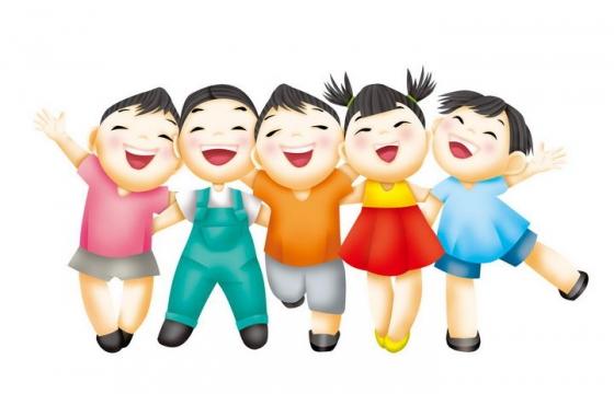 卡通风格开心大笑的小朋友儿童节图片免抠素材