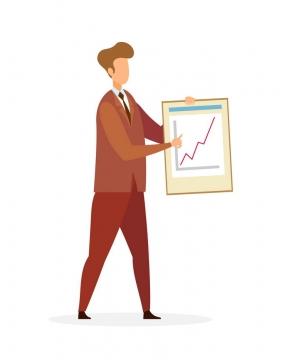 扁平插画风格展示业绩增长的商务人士图片免抠素材