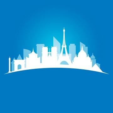 白色弧形世界知名建筑城市天际线剪影png图片免抠矢量素材