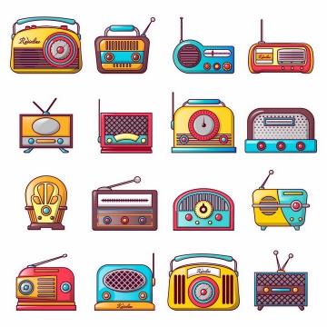 16款复古卡通收音机录音机png图片免抠矢量素材