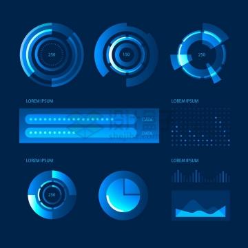 炫酷的蓝色雷达图环形图饼形图曲线图等PPT数据图表png图片免抠矢量素材