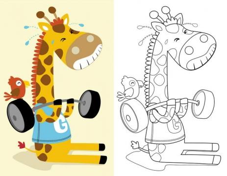 线条涂色对比动物简笔画举重的长颈鹿图片免抠素材