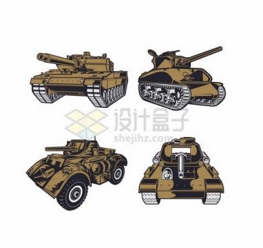 4款手绘漫画风格3D坦克png图片免抠矢量素材