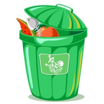 绿色的卡通垃圾桶png图片免抠素材