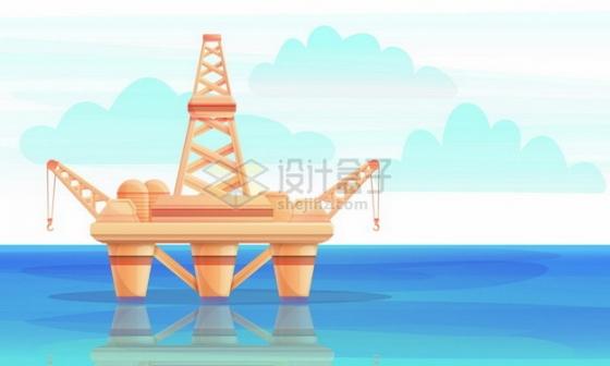 大海上的卡通海上钻井平台石油开采平台916739png图片素材