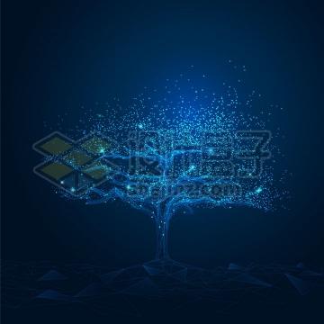 蓝色光点和三角形组成的发光大树生命之树png图片免抠矢量素材