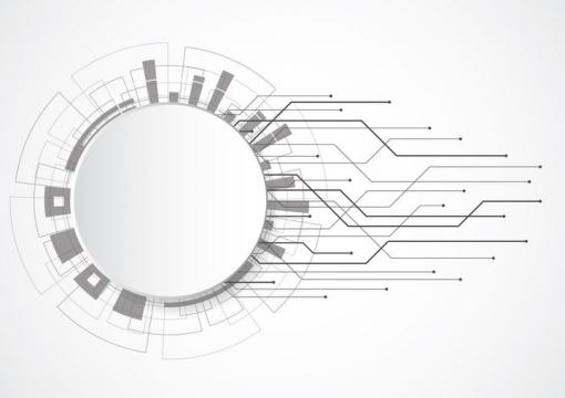 圆形空白文本框和点线组成的装饰图片免抠矢量素材