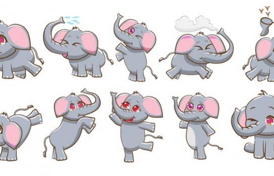 10款卡通风格可爱的小象图片免抠矢量图素材