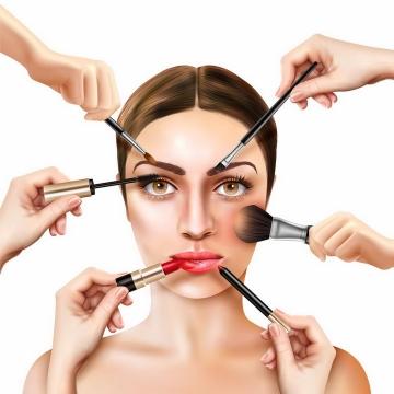 六只手分别拿着各种化妆工具在给美女化妆png图片免抠矢量素材