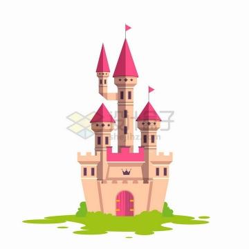 青草地上的卡通童话城堡png图片免抠矢量素材