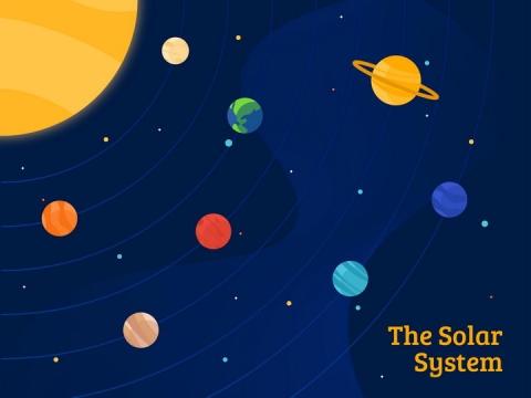 卡通扁平化风格太阳系八大行星图片免抠素材
