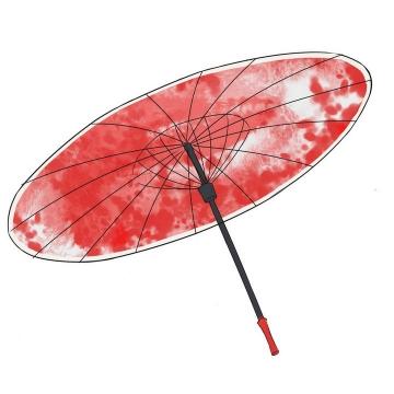 红色涂鸦风格中国风雨伞油纸伞图片免抠素材