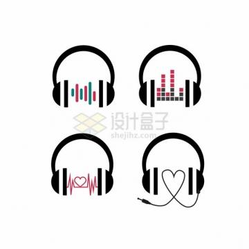 4款头戴式耳机剪影628357png图片素材