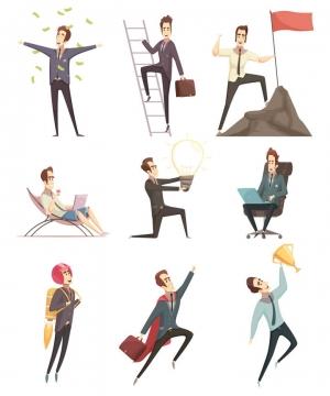 9款卡通漫画风格赚钱了获奖了成功商务人士图片免抠素材