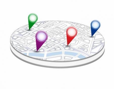 圆盘状城市地图和定位图标png图片免抠矢量素材