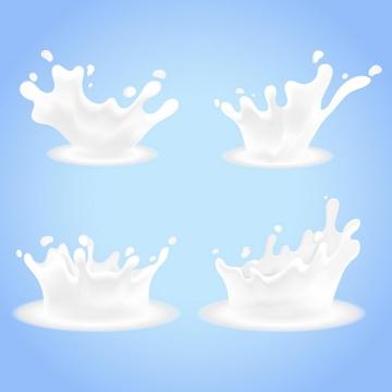 4款乳白色液体牛奶滴落飞溅液滴效果png图片免抠矢量素材