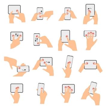 16款手机触摸屏手势操作示意图图片免抠矢量图
