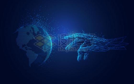 蓝色光点和三角形组成的一只手触摸发光地球png图片免抠矢量素材