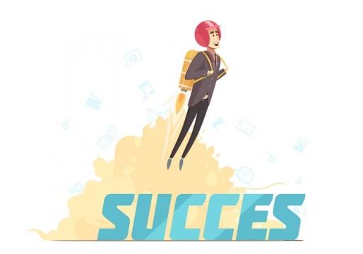 成功了抽象漫画风格背着火箭起飞的成功卡通商务人士图片免抠素材