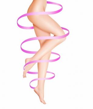 玫红色丝带缠绕着的美女的大长腿瘦身减肥png图片免抠矢量素材
