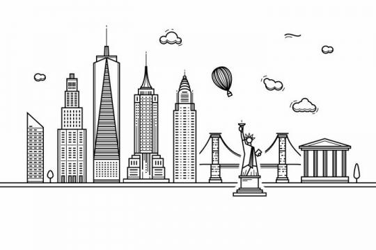 黑色线条手绘风格纽约城市建筑知名旅游城市天际线png图片免抠素材