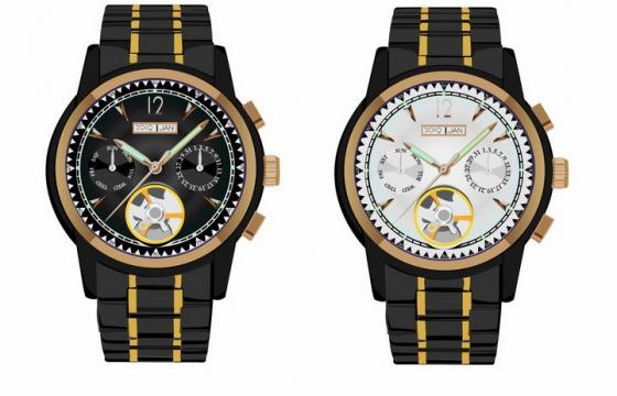 两款黑色表带的机械手表智能手表png图片免抠矢量素材