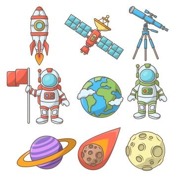 9款卡通风格小火箭卫星天文望远镜宇航员地球土星流星和月球天文科普图片免抠素材