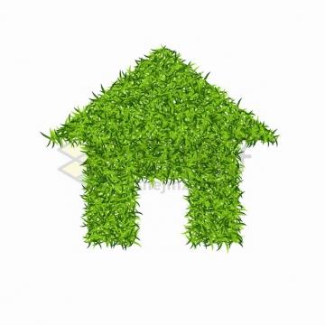 绿色青草草坪组成的房子家的标志png图片素材