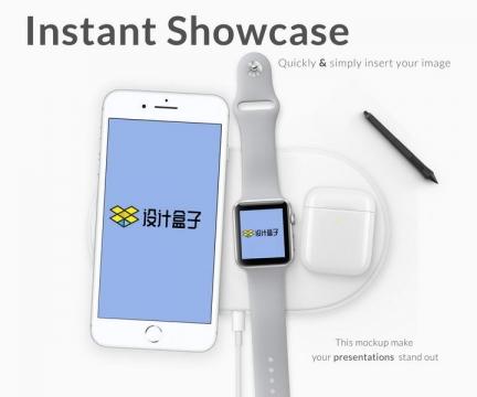 苹果iphone手机和iWatch智能手表样机图片素材
