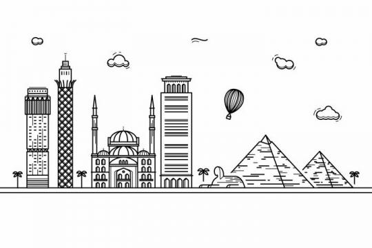 黑色线条手绘风格埃及开罗城市建筑知名旅游城市天际线png图片免抠素材