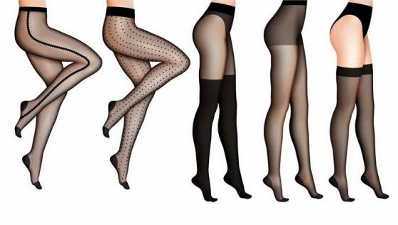 5款穿着黑丝袜的美女大长腿png图片免抠矢量素材