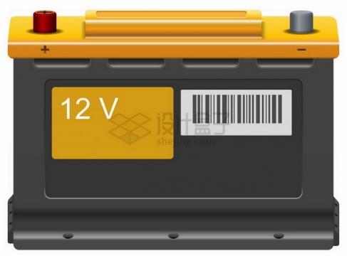 黄色黑色的汽车电瓶png图片素材