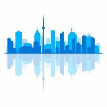 蓝色城市建筑天际线剪影倒影png图片免抠矢量素材